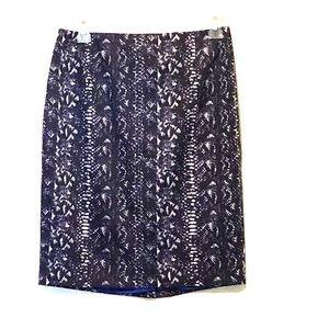 Tahari Dani Skirt Lined Snakeskin Print Navy 4